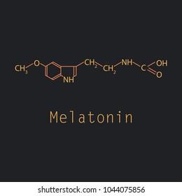 Melatonin hormone molecule. In humans, it plays a role in circadian rhythm synchronization. Skeletal formula.