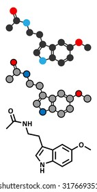 Melatonin hormone molecule. In humans, it plays a role in circadian rhythm synchronization. Stylized 2D renderings and conventional skeletal formula.