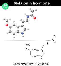 Melatonin hormone molecule, regulator of daily rhythms, 2d and 3d illustration, vector isolated on white background, eps 8