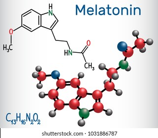 Melatonin molecule, hormone that regulates sleep and wakefulness. Structural chemical formula and molecule model. Vector illustration