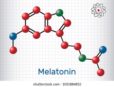 Melatonin molecule, sleep hormone. Atoms are represented as spheres with color: carbon (red), oxygen (blue), nitrogen (green). Molecular model. Sheet of paper in a cage. Vector illustration