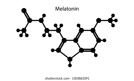 Melatonin vector. Molecular structure vector design. Melatonin hormone