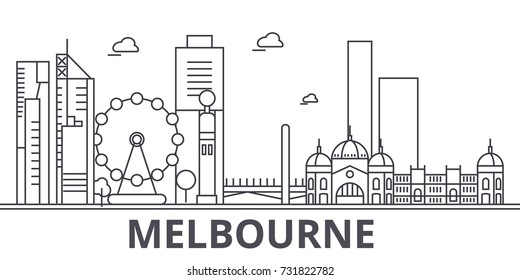 Melbourne architecture line skyline illustration. Linear vector cityscape with famous landmarks, city sights, design icons. Landscape wtih editable strokes