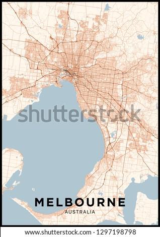 Melbourne Australia City Map.Melbourne Australia City Map Poster Map Stock Vector Royalty Free