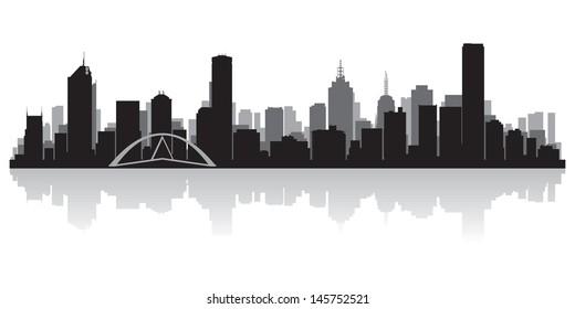 Melbourne Australia city skyline silhouette vector illustration