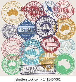 Melbourne Australia Set of Stamps. Travel Stamp. Made In Product. Design Seals Old Style Insignia.