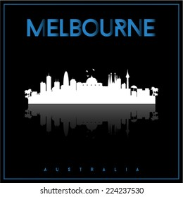Melbourne, Australia, skyline silhouette vector design on parliament blue and black background.