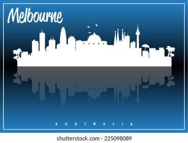 Melbourne, Australia, skyline silhouette vector design on parliament blue and black background.