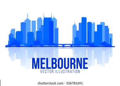 Melbourne Australia skyline silhouette vector illustration. White background with city panorama. Travel picture. Image for Presentation Banner Placard and Web Site.