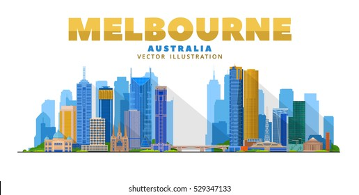 Melbourne Australia skyline vector illustration. White background with city panorama. Travel picture. Image for Presentation Banner Placard and Web Site.