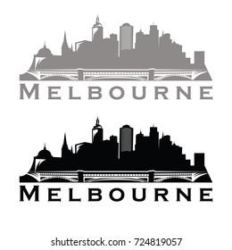 Melbourne Australian skyline Logo cityscape and landmarks silhouette vector illustration