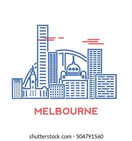 Melbourne city architecture retro vector illustration, skyline city silhouette, skyscraper, stroke design