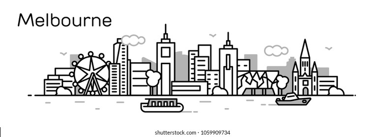 Melbourne city. Vector illustration