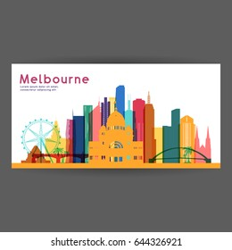 Melbourne colorful architecture vector illustration, skyline city silhouette, skyscraper, flat design.