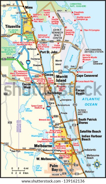 Map Of Florida Melbourne.Melbourne Florida Area Map Stock Vector Royalty Free 139162136
