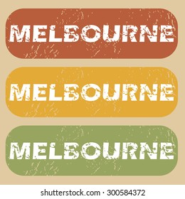 Melbourne on colored background