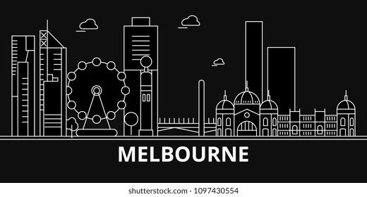 Melbourne silhouette skyline. Australia - Melbourne vector city, australian linear architecture, buildings. Melbourne travel illustration, outline landmarks. Australia flat icon, australian line