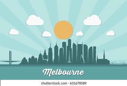 Melbourne skyline - Australia - vector illustration