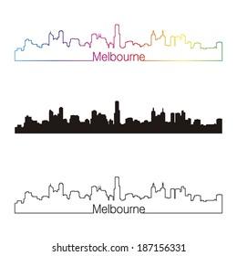 Melbourne skyline linear style with rainbow in editable vector file