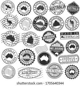 Melbourne VIC, Australia Set of Stamp. Vector Art Postal Passport Travel Design. Travel and Business Seals.