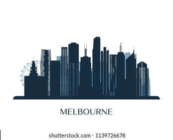 Melbrourne skyline, monochrome silhouette. Vector illustration.