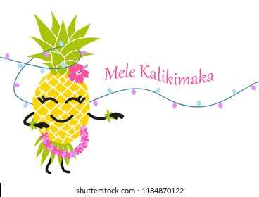 Mele Kalikimaka Happy New Year Christmas in Hawaiian, Xmas greeting card with cartoon pineapple dancing hula hawaiian dance