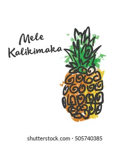 Mele Kalikimaka Happy New Year Christmas in Hawaiian pineapple