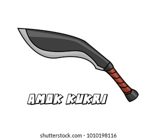 melee weapon amok kukri model cartoon design illustration