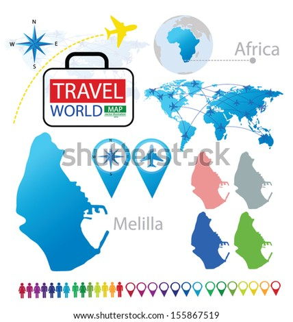 Melilla Spain Map.Melilla Spain World Map Travel Vector Stock Vector Royalty Free