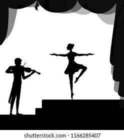 melody for dancing, balerina dancing on the stage and violinist playing, vector