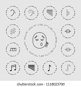 Melody icon. collection of 13 melody outline icons such as bass clef, music note, harmonica, emoji listening music, musical sharp. editable melody icons for web and mobile.