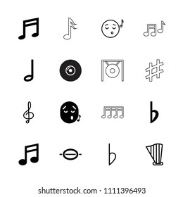Melody icon. collection of 16 melody filled and outline icons such as music note, bemol, emoji listening music, treble clef, harp. editable melody icons for web and mobile.
