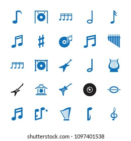 Melody icon. collection of 25 melody filled icons such as note, music note, treble clef, guitar, gong, musical sharp. editable melody icons for web and mobile.