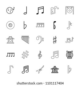 Melody icon. collection of 25 melody outline icons such as gong, note, emoji listening music, music note, musical sharp, bemol, harp. editable melody icons for web and mobile.