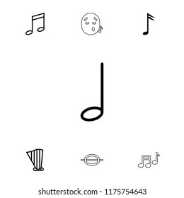 Melody icon. collection of 7 melody outline icons such as music note, harp, emoji listening music. editable melody icons for web and mobile.