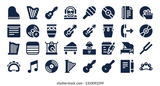 melody icon set. 32 filled melody icons. on blue background style Simple modern icons about  - Piano, Notes, Harp, Tambourine, Vynil, Music, Guitar, Conga, Gong, Vinyl, DJ, Maraca