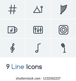 Melody icon set and loudspeaker with sharp musical sign, quarter and song disk. Tune related melody icon vector for web UI logo design.