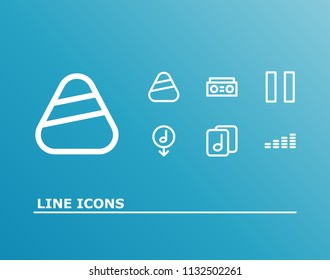 Melody icon set and plectrum with download music, musical file and pause. Record related melody icon vector for web UI logo design.