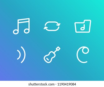 Melody icon set and quaver with common-time sign, wave and music folder. Song dossier related melody icon vector for web UI logo design.