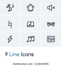 Melody icon set and sound off with settings, musical notes and melody. Harmonica related melody icon vector for web UI logo design.