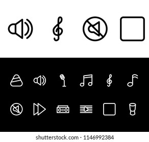 Melody icon set and stop with forward, tape and treble sign. Interview related melody icon vector for web UI logo design.