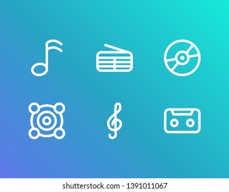 Melody icon set and storage with speaker, music note and radio. Audiocassette related melody icon vector for web UI logo design.
