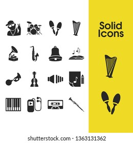 Melody icons set with drum kit, bell and gramophone elements. Set of melody icons and phonograph concept. Editable vector elements for logo app UI design.