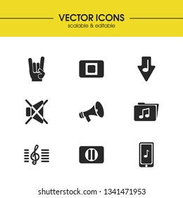Melody icons set with music folder, mute and download music elements. Set of melody icons and music note concept. Editable vector elements for logo app UI design.