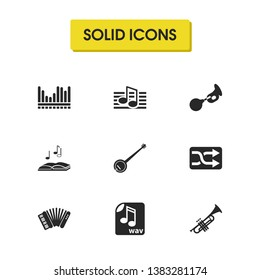 Melody icons set with shuffle button, accordion and trumpet elements. Set of melody icons and symphony concept. Editable vector elements for logo app UI design.