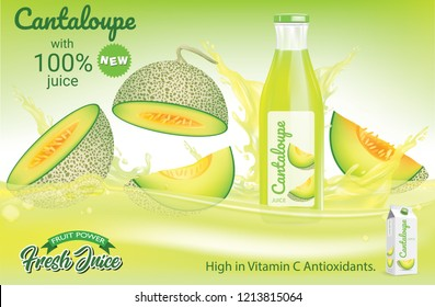 Melon cantaloupe drop on juice splash and ripple, Realistic Fruit and yogurt, transparent, vector illustration
