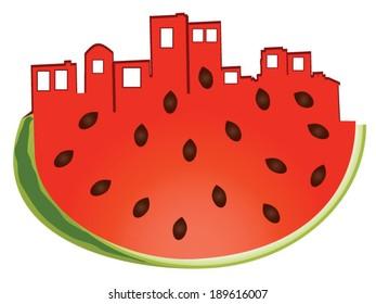 Melon City A watermelon shaped like a city skyline.