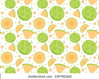 melon vector. melon pattern vector. wallpaper. copy space.