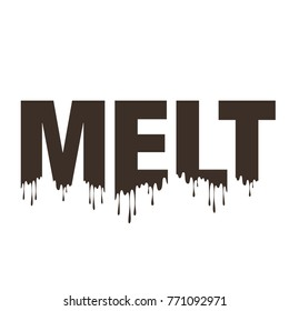 Melt word typography melting, make or become liquefied by heating