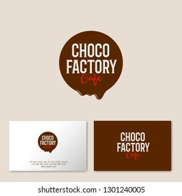 Melted chocolate circle with letters. Logo for cafe or pastry. Composition with chocolate drop, isolated on light background. Identity, business card.